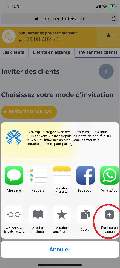 Mettre l'application CREDIT ADVISOR sur votre Iphone